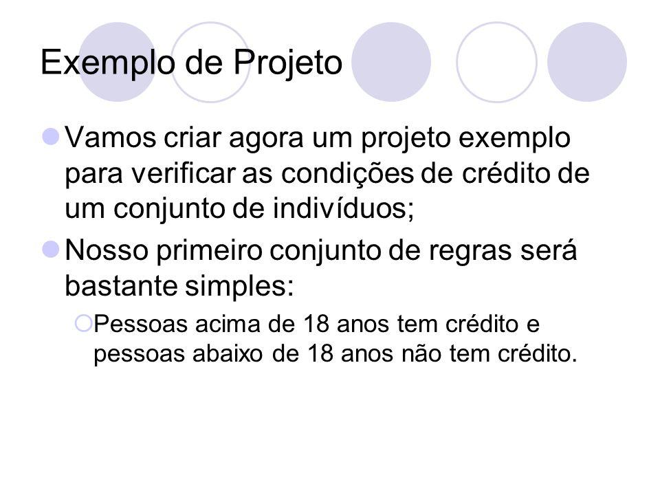 Exemplo de Projeto Vamos criar agora um projeto exemplo para verificar as condições de crédito de um conjunto de indivíduos;