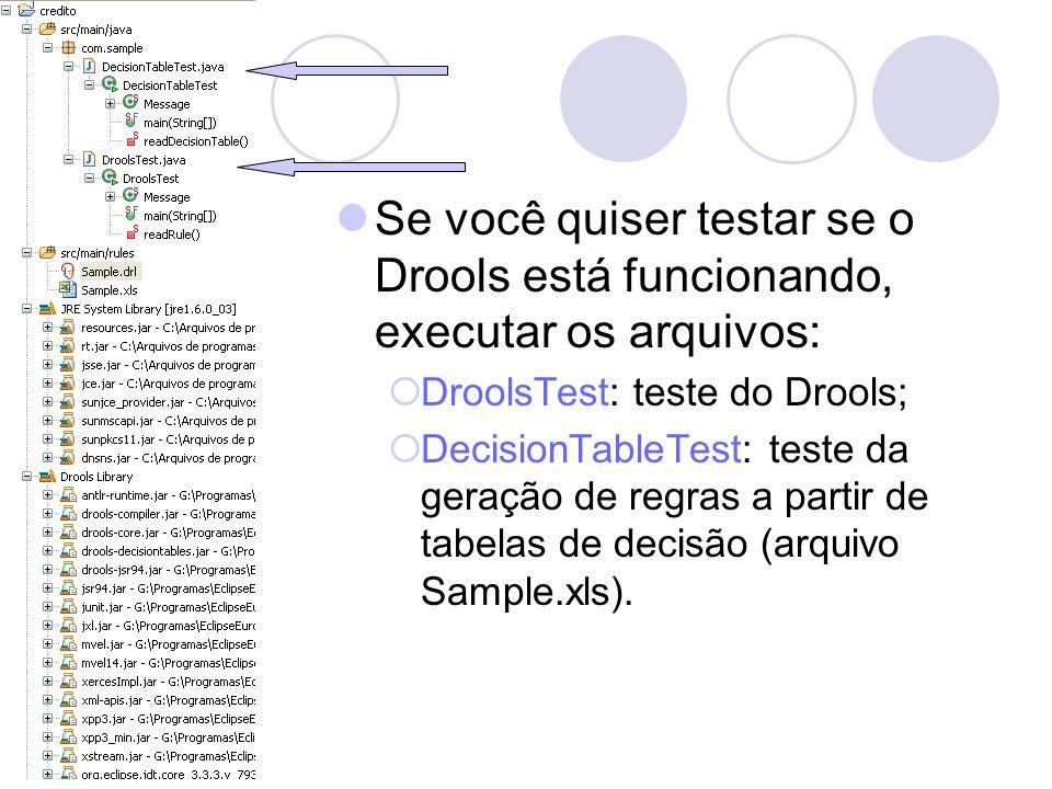 Se você quiser testar se o Drools está funcionando, executar os arquivos: