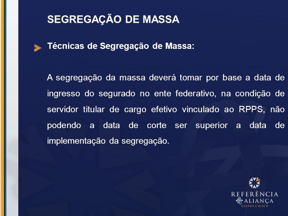 SEGREGAÇÃO DE MASSA Técnicas de Segregação de Massa: