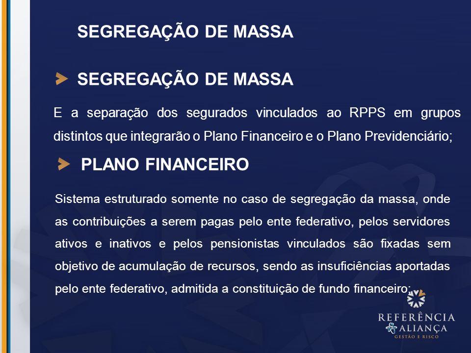 SEGREGAÇÃO DE MASSA SEGREGAÇÃO DE MASSA PLANO FINANCEIRO