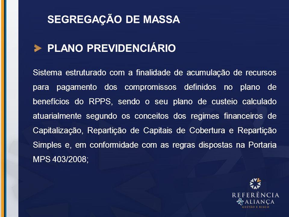 SEGREGAÇÃO DE MASSA PLANO PREVIDENCIÁRIO