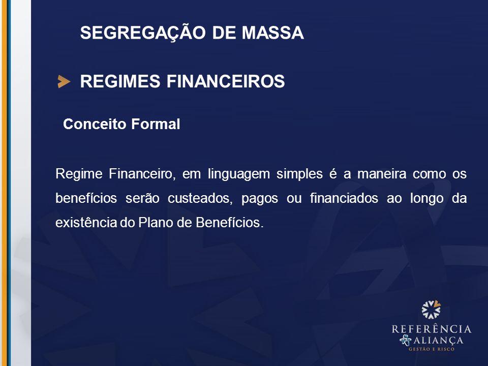 SEGREGAÇÃO DE MASSA REGIMES FINANCEIROS Conceito Formal