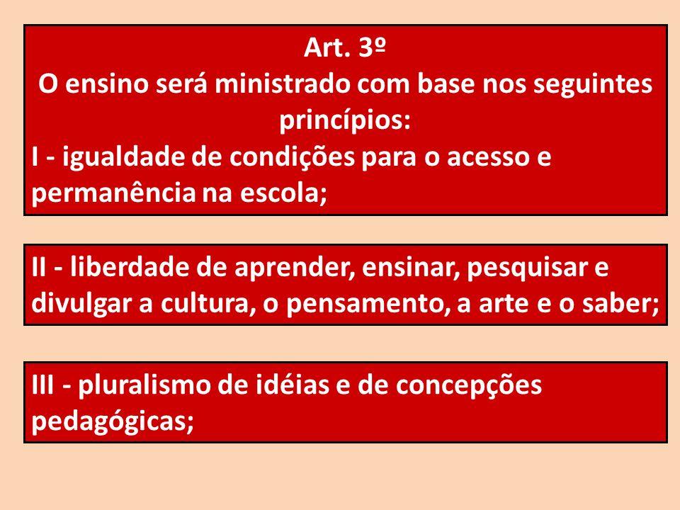 O ensino será ministrado com base nos seguintes princípios: