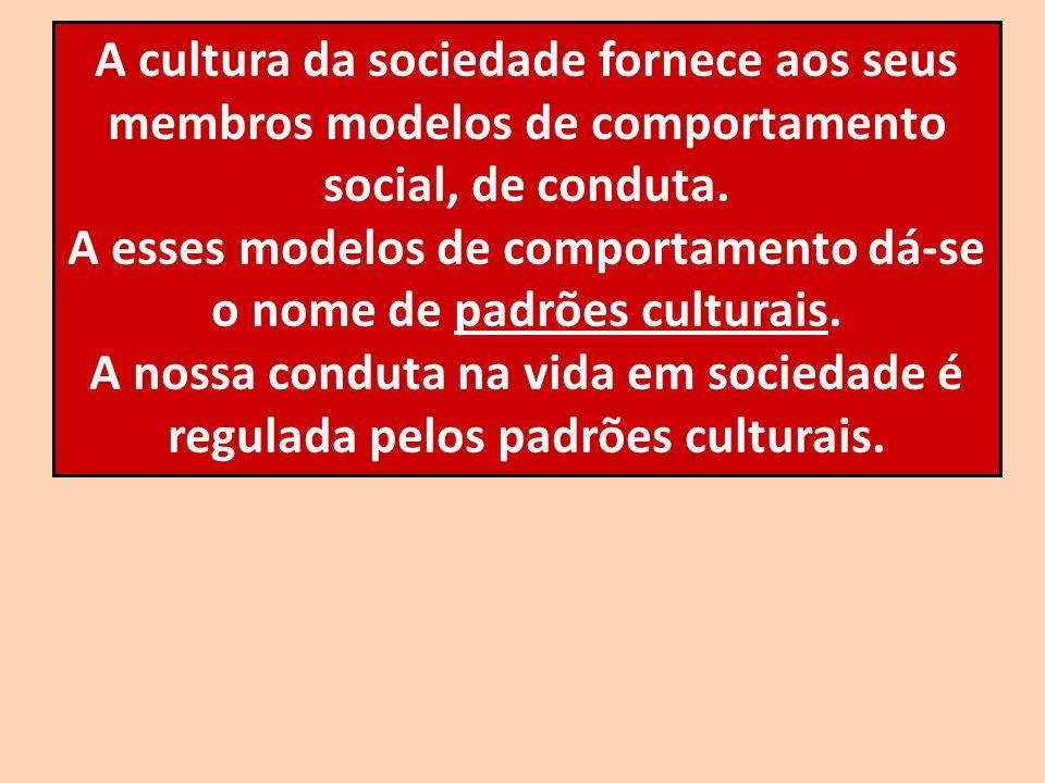 A esses modelos de comportamento dá-se o nome de padrões culturais.