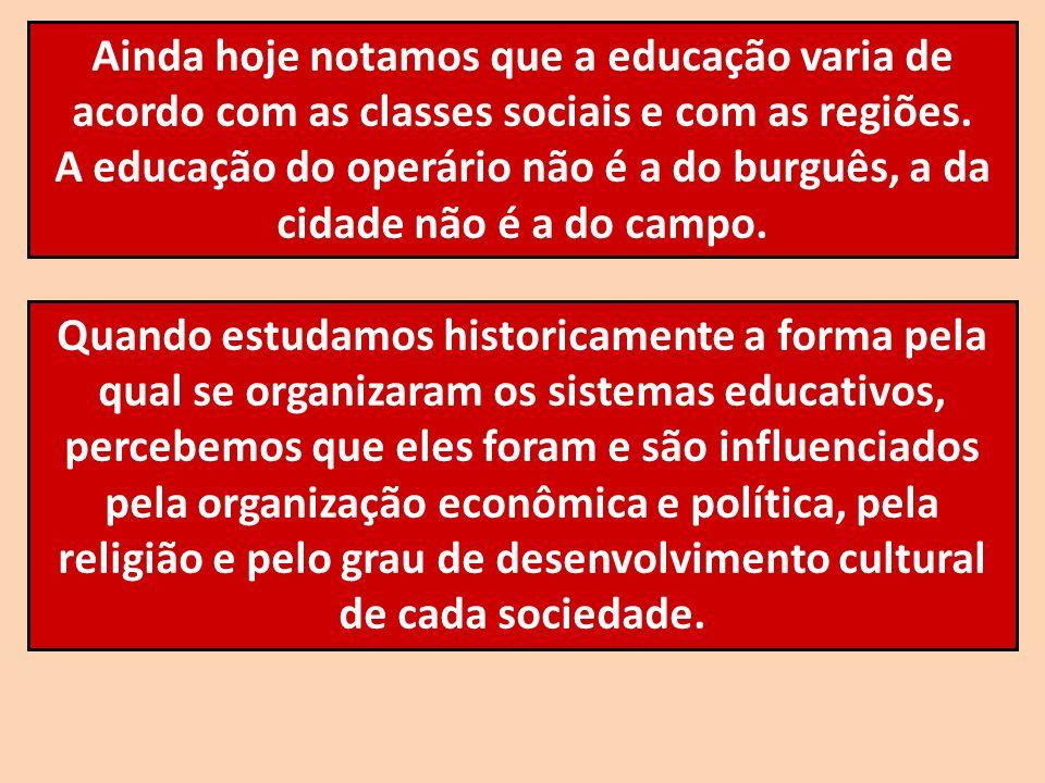 Ainda hoje notamos que a educação varia de acordo com as classes sociais e com as regiões.