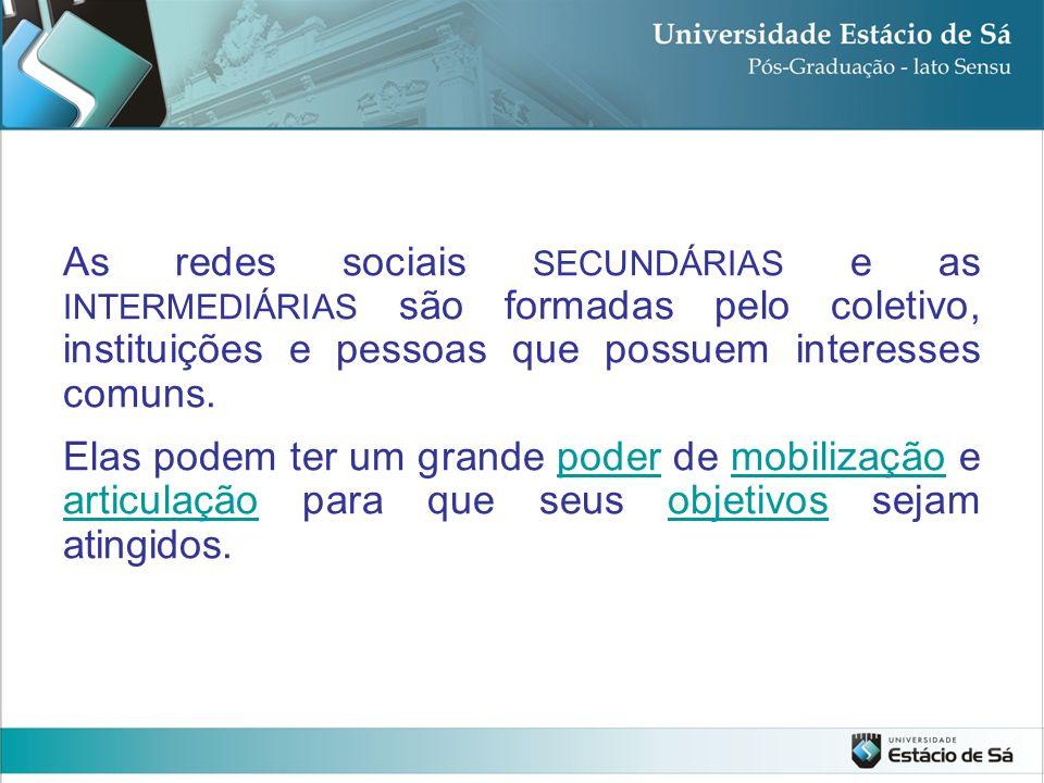 As redes sociais SECUNDÁRIAS e as INTERMEDIÁRIAS são formadas pelo coletivo, instituições e pessoas que possuem interesses comuns.