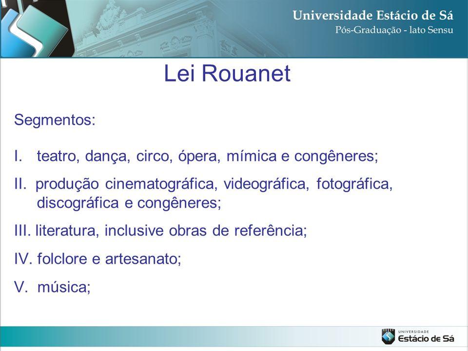 Lei Rouanet Segmentos: