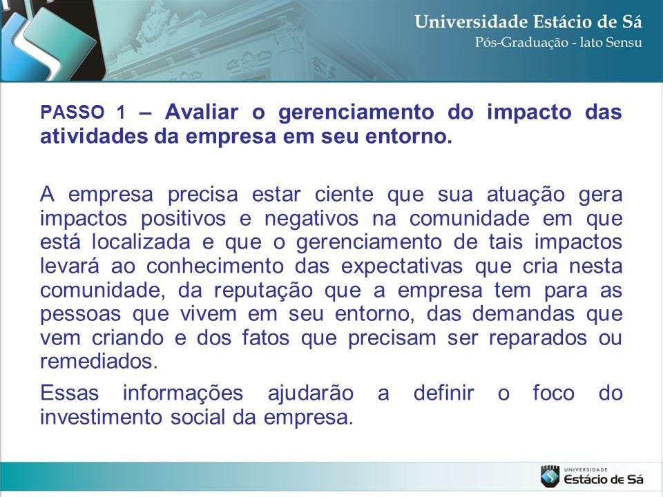 PASSO 1 – Avaliar o gerenciamento do impacto das atividades da empresa em seu entorno.