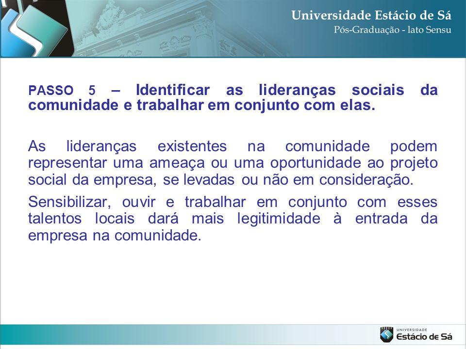 PASSO 5 – Identificar as lideranças sociais da comunidade e trabalhar em conjunto com elas.