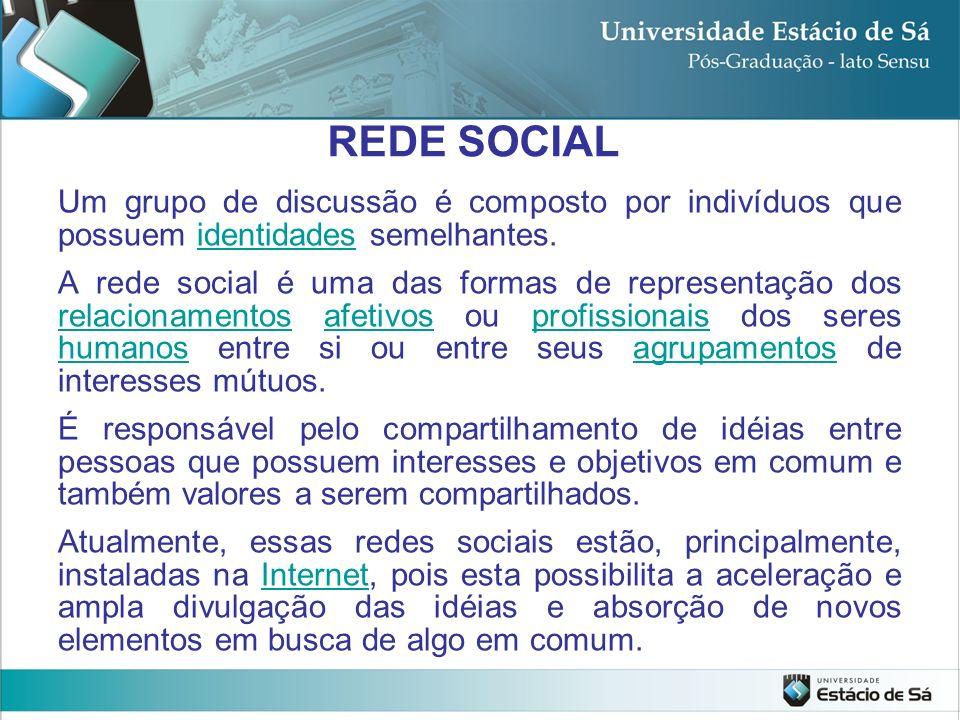 REDE SOCIAL Um grupo de discussão é composto por indivíduos que possuem identidades semelhantes.