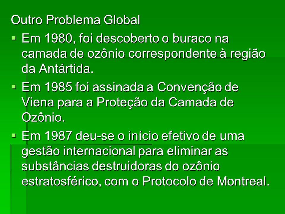 Outro Problema GlobalEm 1980, foi descoberto o buraco na camada de ozônio correspondente à região da Antártida.