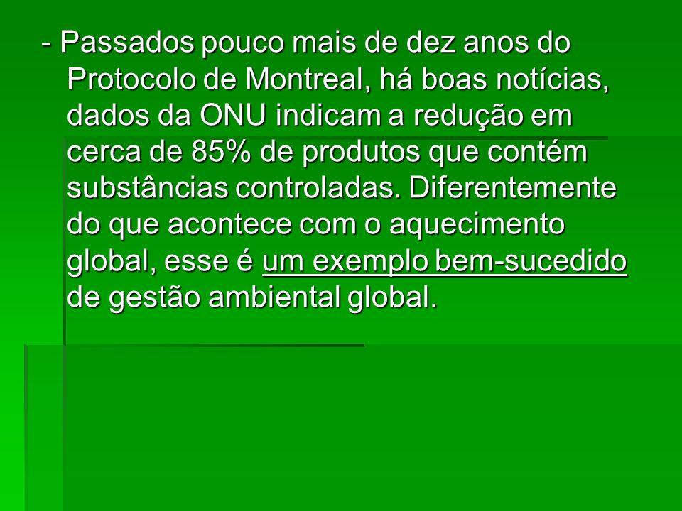 - Passados pouco mais de dez anos do Protocolo de Montreal, há boas notícias, dados da ONU indicam a redução em cerca de 85% de produtos que contém substâncias controladas.