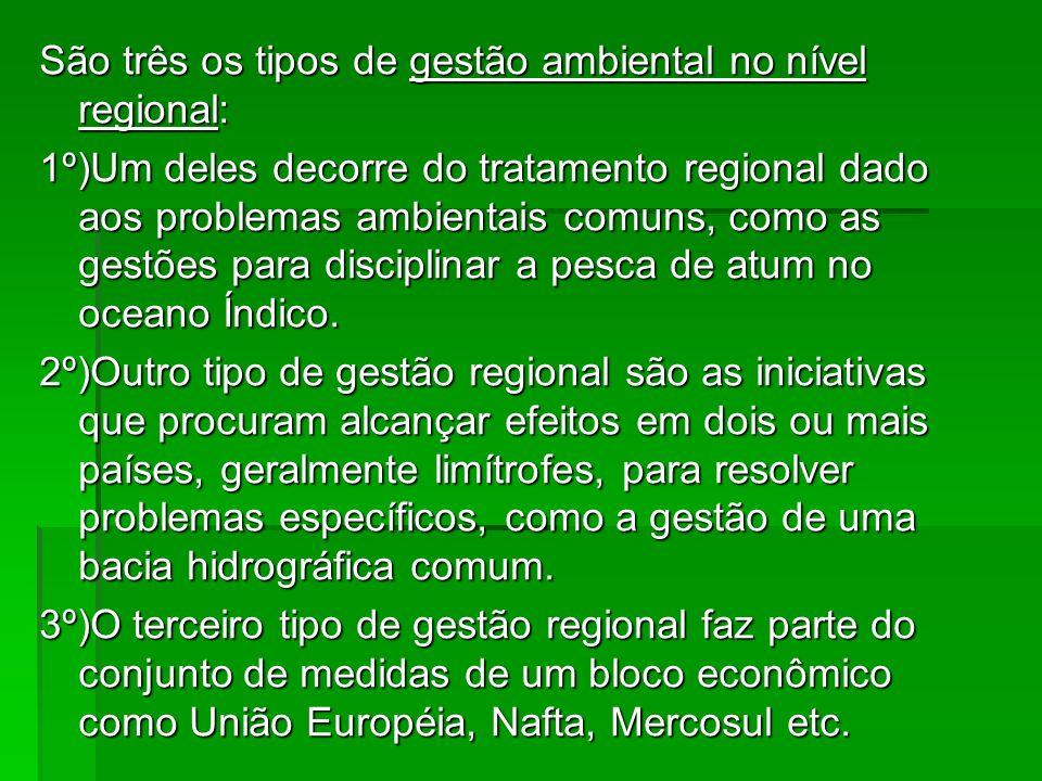 São três os tipos de gestão ambiental no nível regional:
