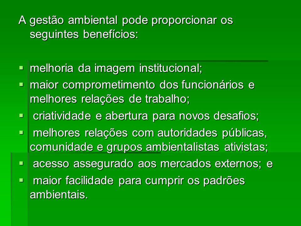 A gestão ambiental pode proporcionar os seguintes benefícios: