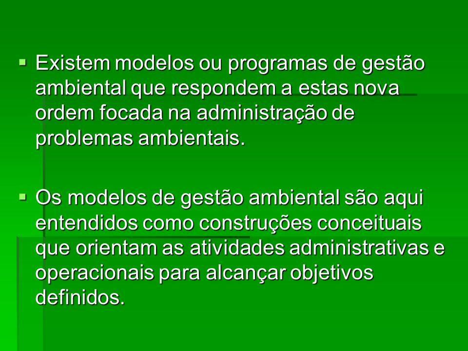 Existem modelos ou programas de gestão ambiental que respondem a estas nova ordem focada na administração de problemas ambientais.