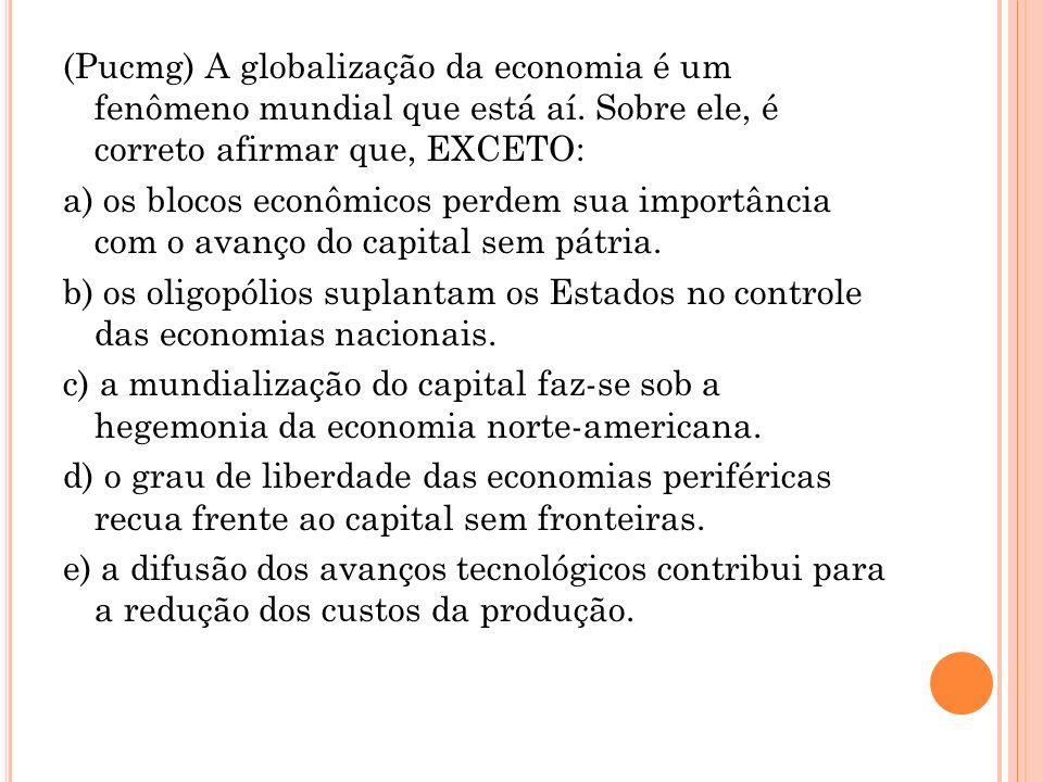 (Pucmg) A globalização da economia é um fenômeno mundial que está aí