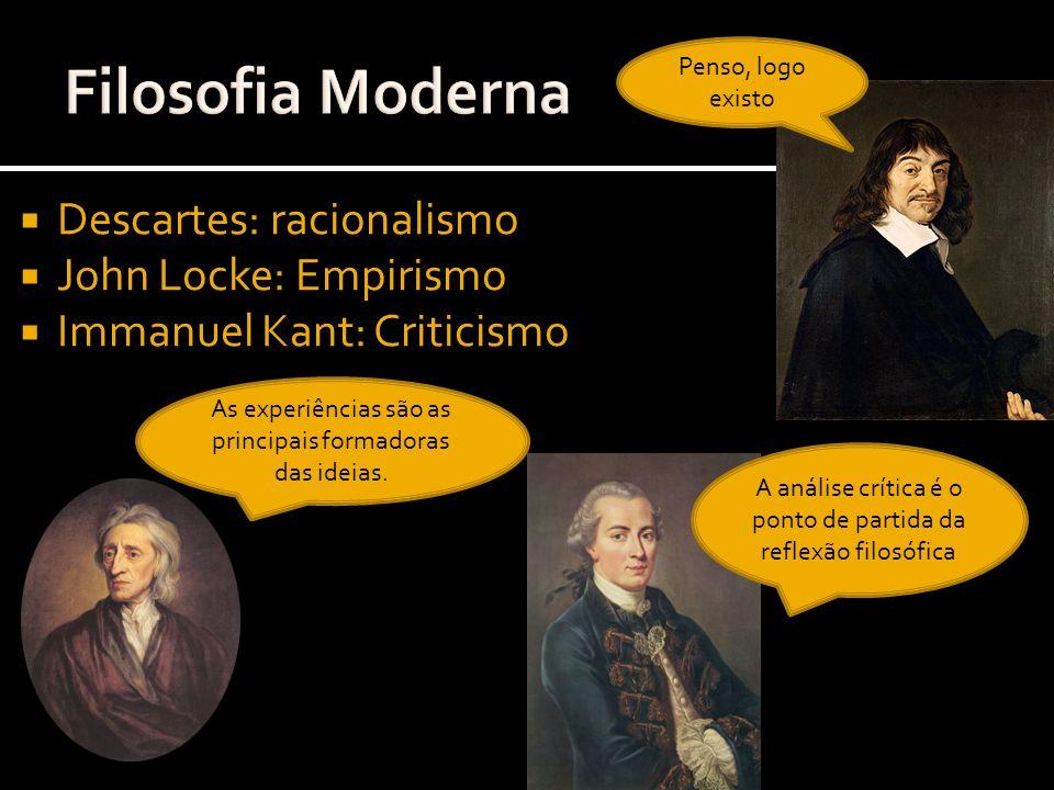 Filosofia Moderna Descartes: racionalismo John Locke: Empirismo