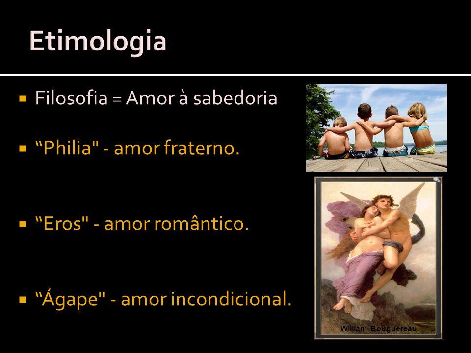 Etimologia Filosofia = Amor à sabedoria Philia - amor fraterno.