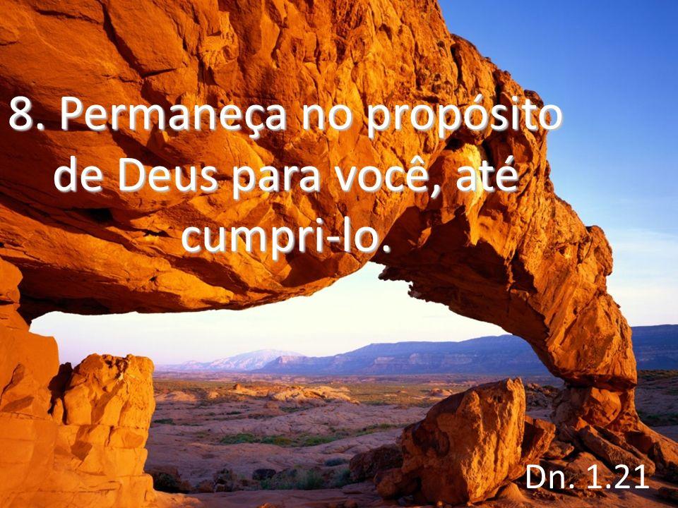 8. Permaneça no propósito de Deus para você, até cumpri-lo.