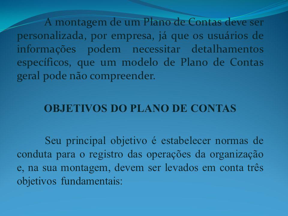 OBJETIVOS DO PLANO DE CONTAS