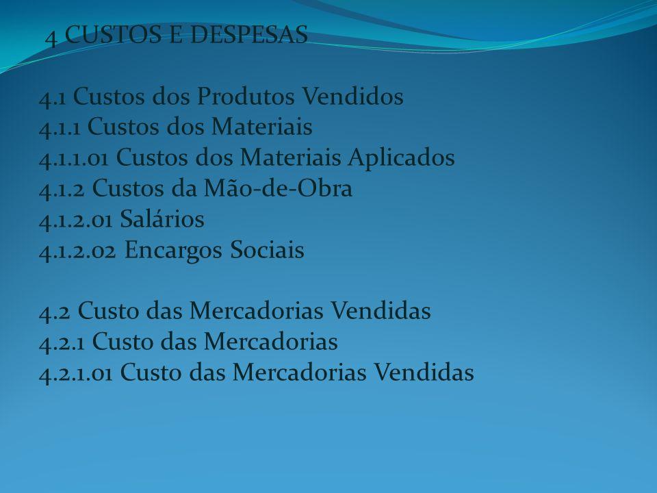 4 CUSTOS E DESPESAS 4. 1 Custos dos Produtos Vendidos 4. 1