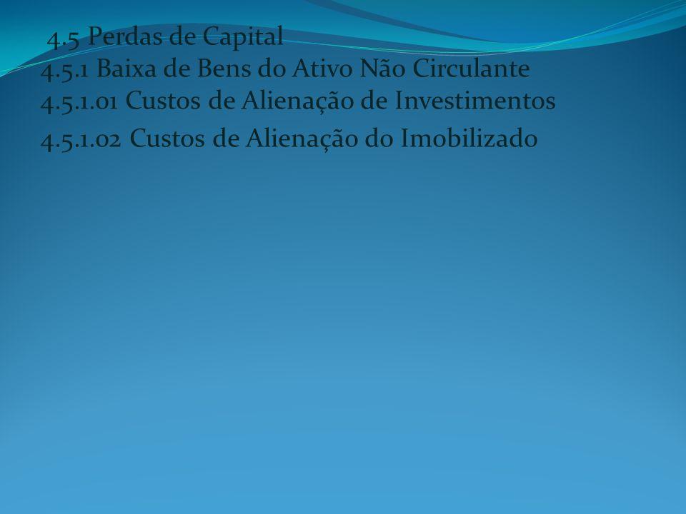 4. 5 Perdas de Capital 4. 5. 1 Baixa de Bens do Ativo Não Circulante 4