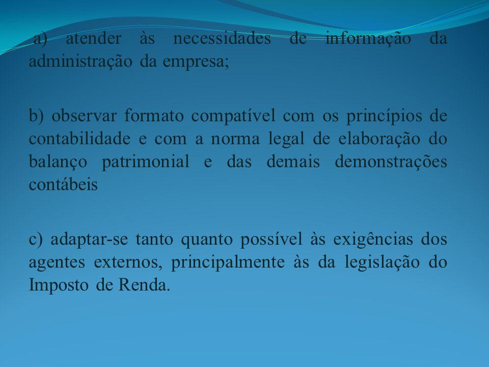 a) atender às necessidades de informação da administração da empresa;