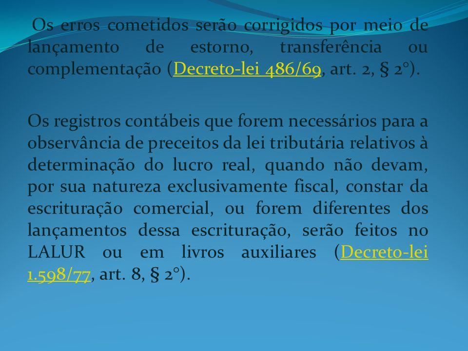 Os erros cometidos serão corrigidos por meio de lançamento de estorno, transferência ou complementação (Decreto-lei 486/69, art. 2, § 2°).