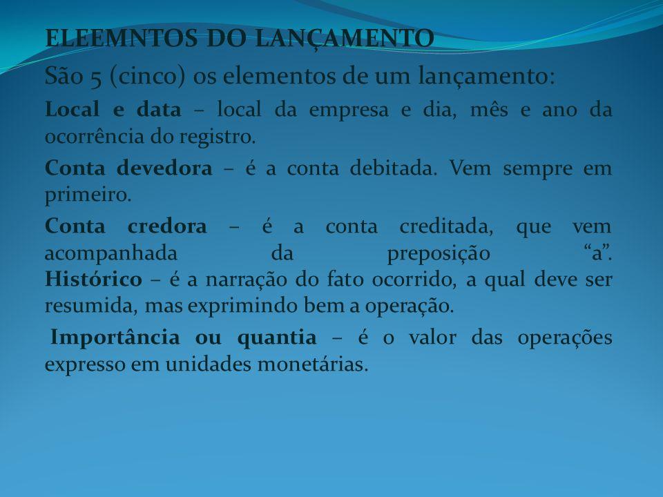 ELEEMNTOS DO LANÇAMENTO São 5 (cinco) os elementos de um lançamento: