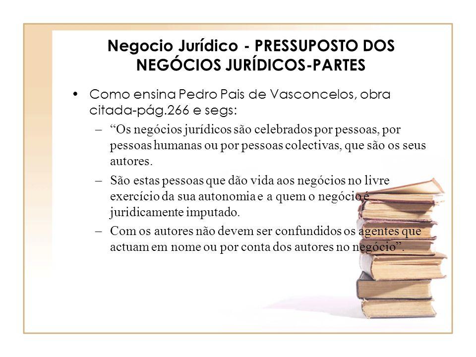Negocio Jurídico - PRESSUPOSTO DOS NEGÓCIOS JURÍDICOS-PARTES