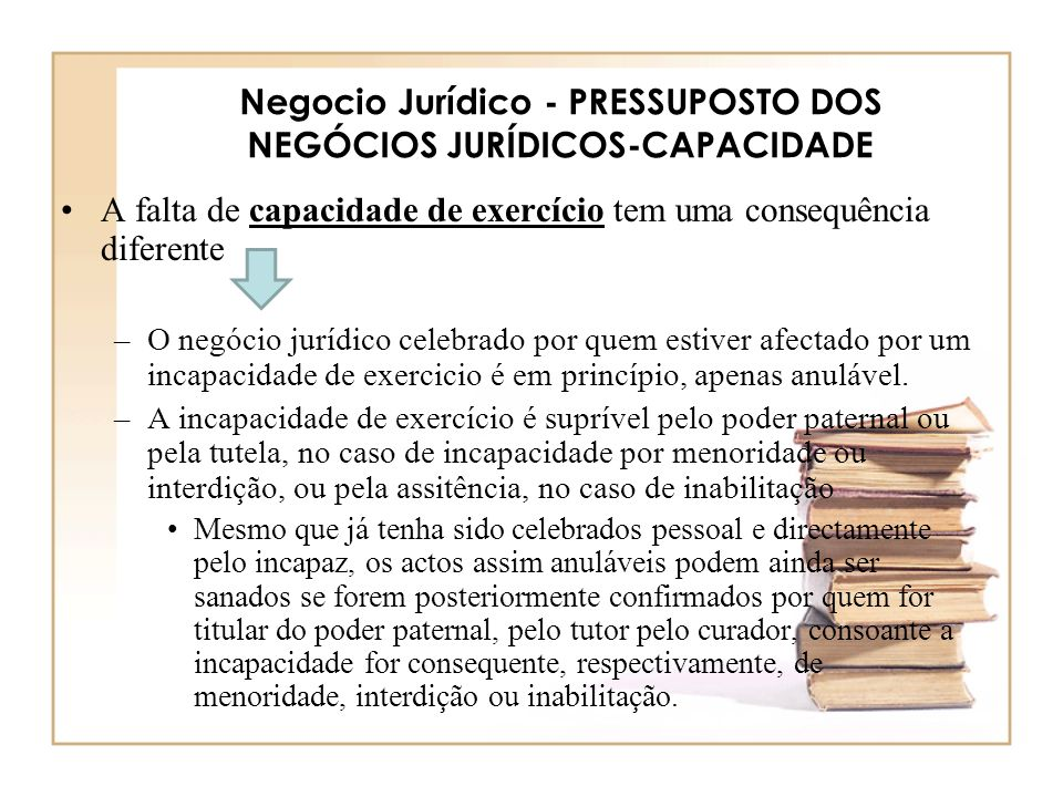 Negocio Jurídico - PRESSUPOSTO DOS NEGÓCIOS JURÍDICOS-CAPACIDADE