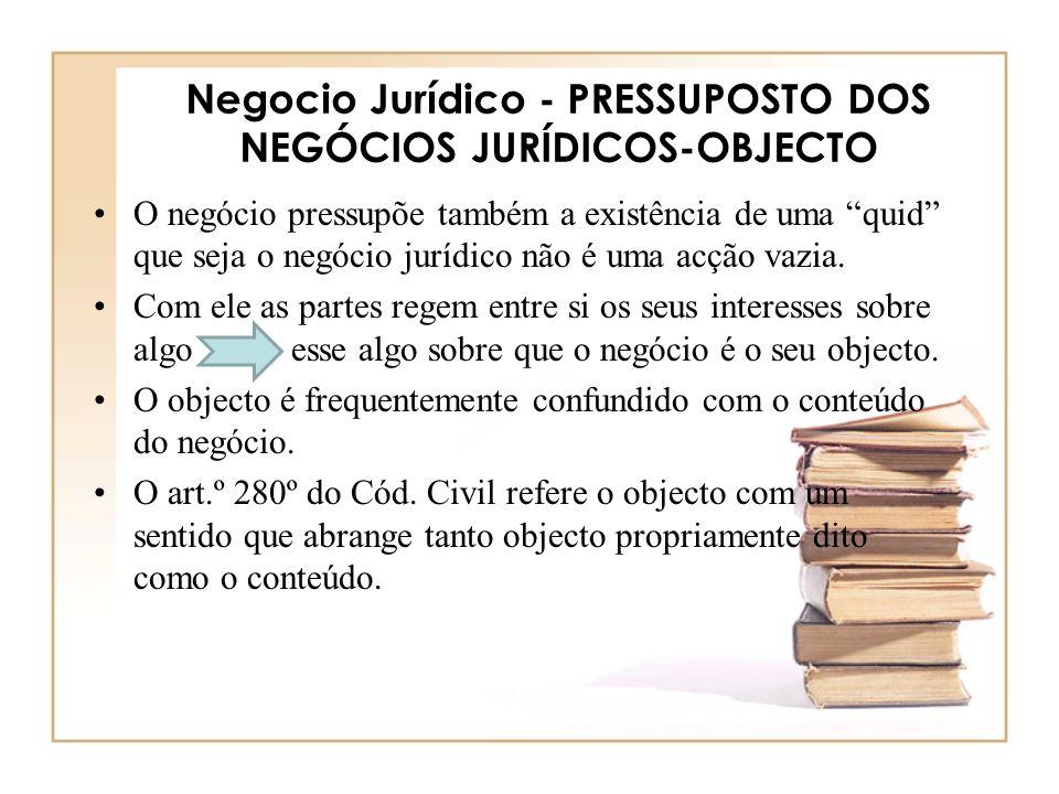 Negocio Jurídico - PRESSUPOSTO DOS NEGÓCIOS JURÍDICOS-OBJECTO