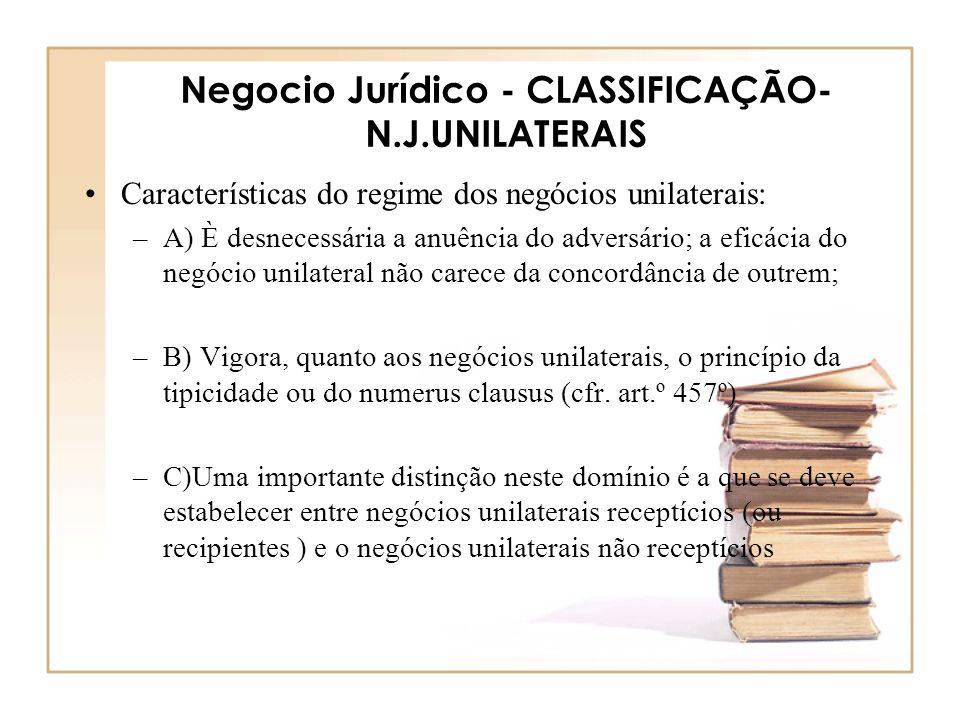 Negocio Jurídico - CLASSIFICAÇÃO-N.J.UNILATERAIS