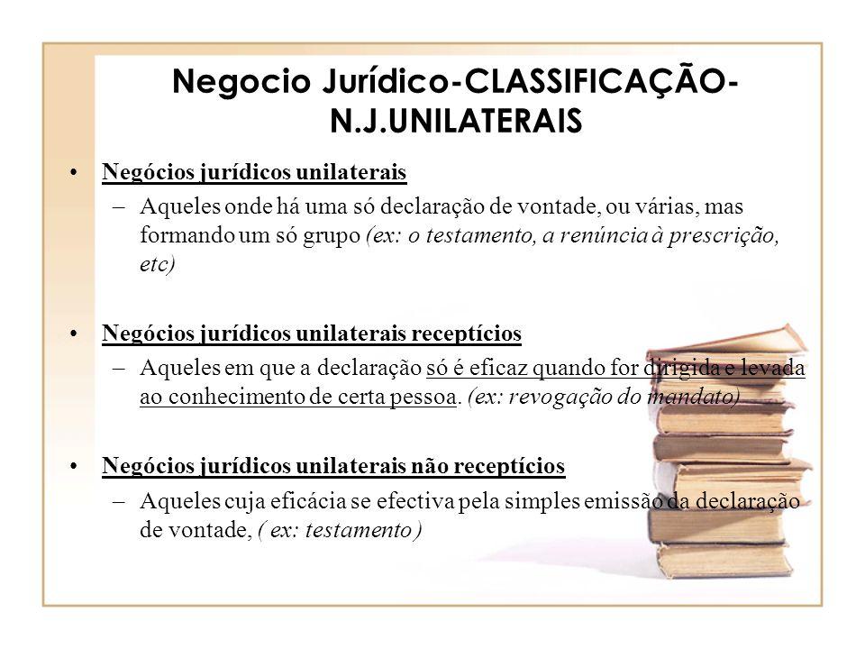 Negocio Jurídico-CLASSIFICAÇÃO-N.J.UNILATERAIS