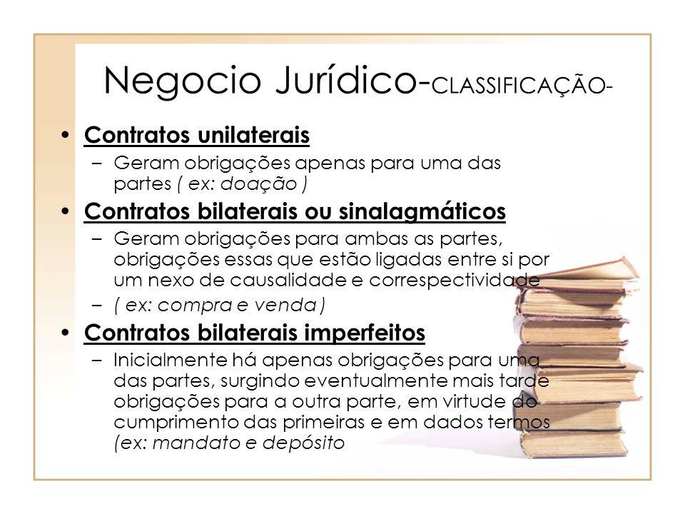 Negocio Jurídico-CLASSIFICAÇÃO-