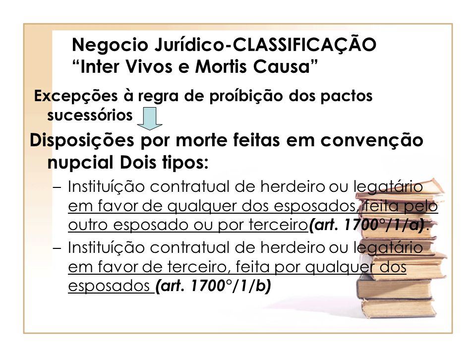 Negocio Jurídico-CLASSIFICAÇÃO Inter Vivos e Mortis Causa