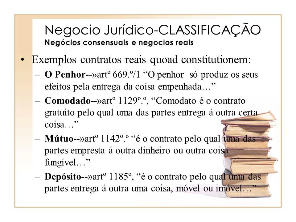 Negocio Jurídico-CLASSIFICAÇÃO Negócios consensuais e negocios reais
