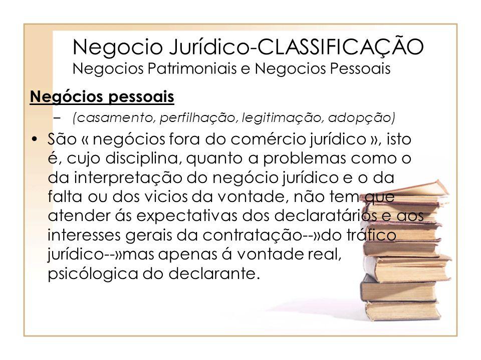 Negocio Jurídico-CLASSIFICAÇÃO Negocios Patrimoniais e Negocios Pessoais