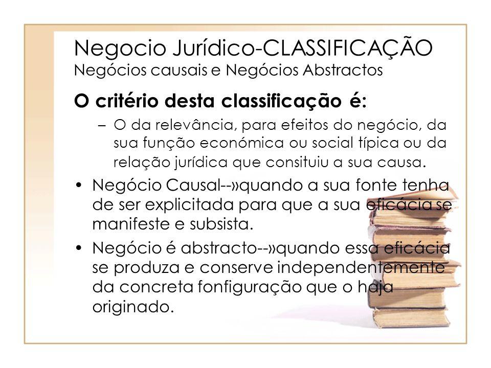 Negocio Jurídico-CLASSIFICAÇÃO Negócios causais e Negócios Abstractos