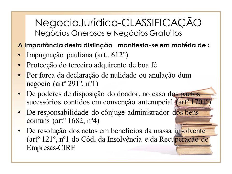 NegocioJurídico-CLASSIFICAÇÃO Negócios Onerosos e Negócios Gratuitos