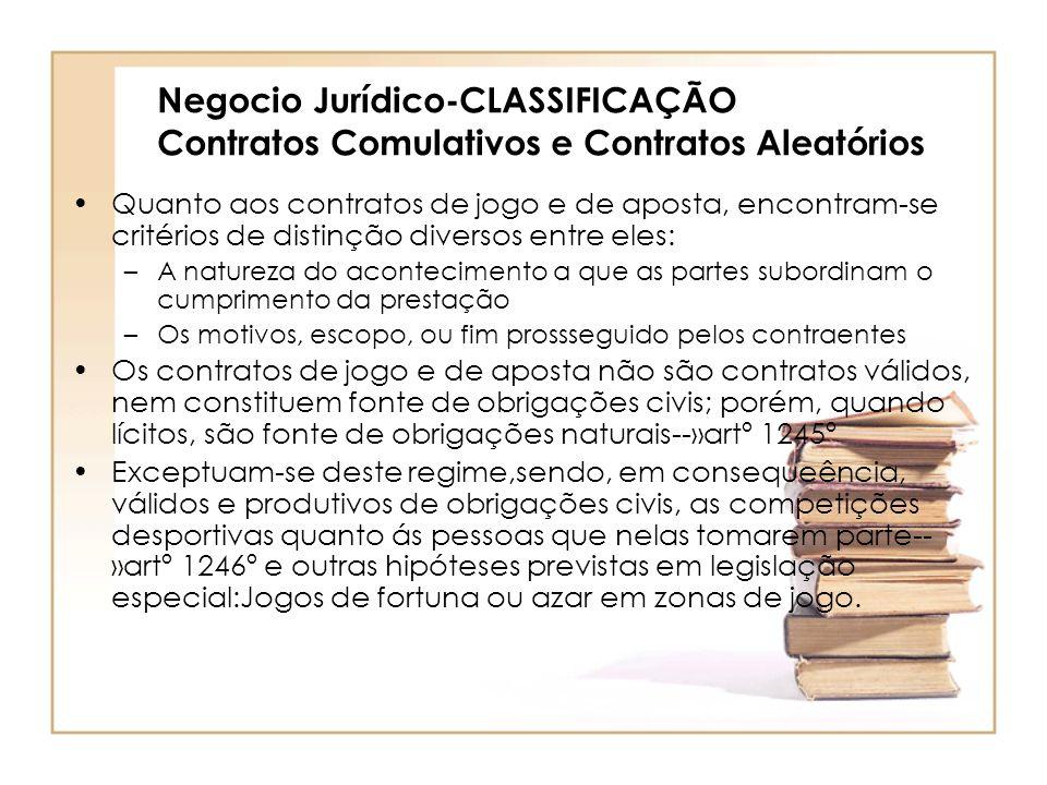 Negocio Jurídico-CLASSIFICAÇÃO Contratos Comulativos e Contratos Aleatórios
