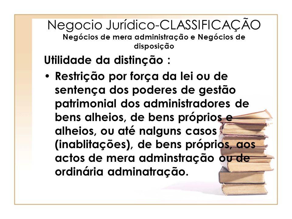 Negocio Jurídico-CLASSIFICAÇÃO Negócios de mera administração e Negócios de disposição