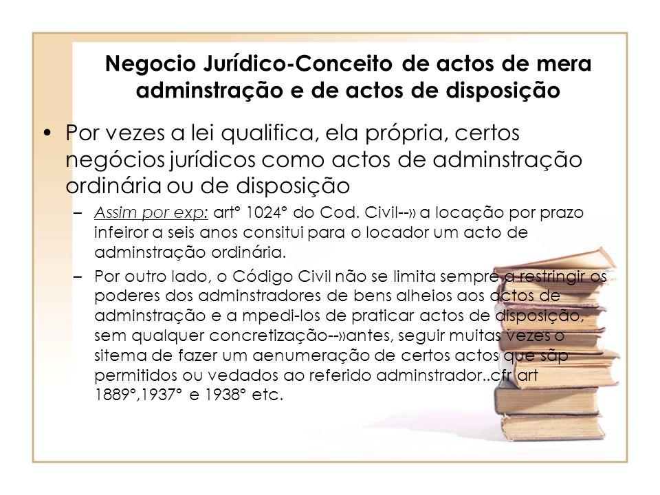 Negocio Jurídico-Conceito de actos de mera adminstração e de actos de disposição