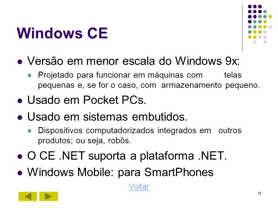 Windows CE Versão em menor escala do Windows 9x: Usado em Pocket PCs.
