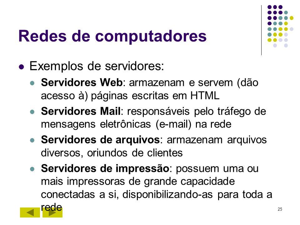 Redes de computadores Exemplos de servidores: