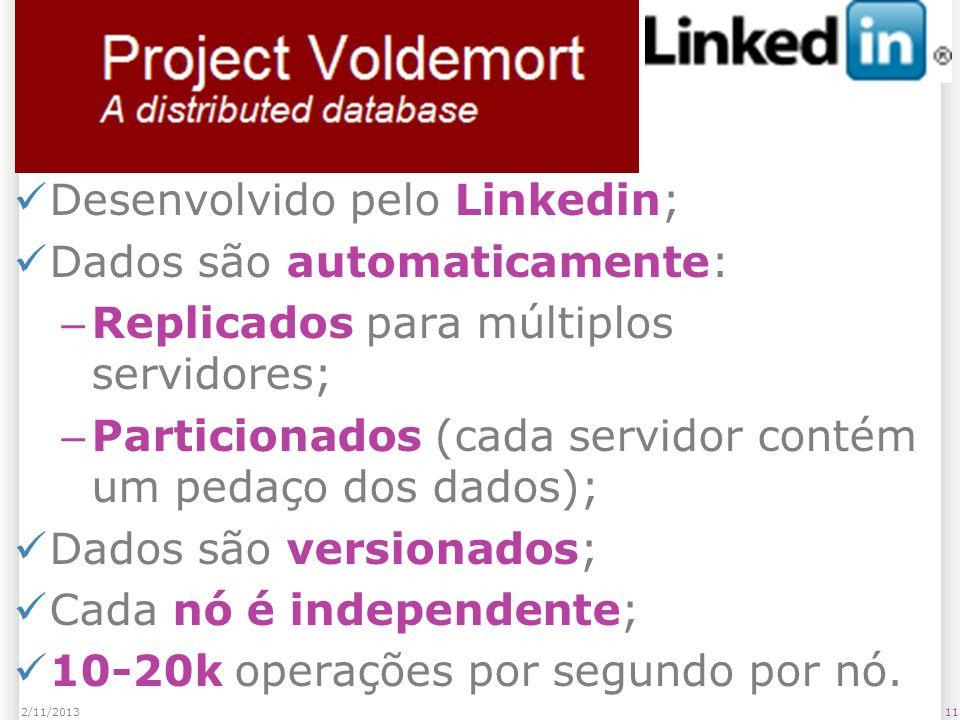 Voldemort Desenvolvido pelo Linkedin; Dados são automaticamente: