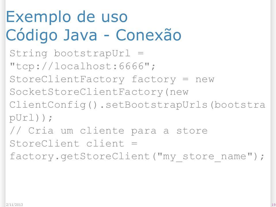 Exemplo de uso Código Java - Conexão