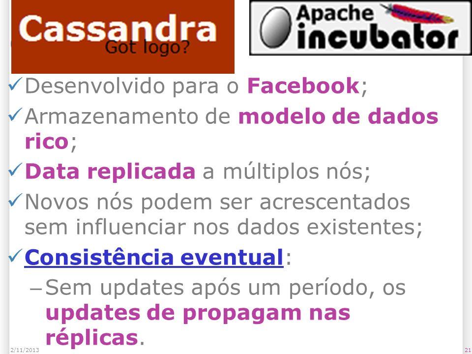 Cassandra Desenvolvido para o Facebook;