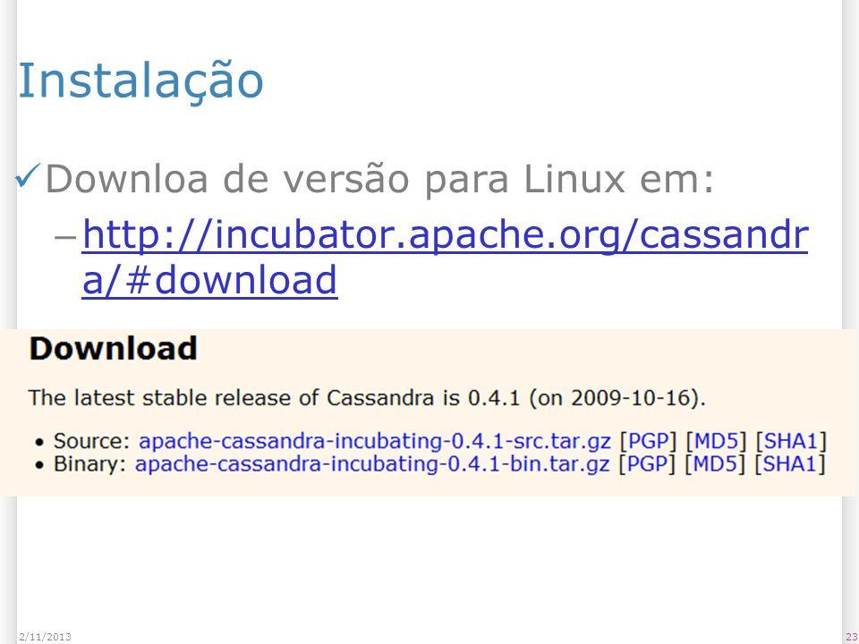 Instalação Downloa de versão para Linux em: