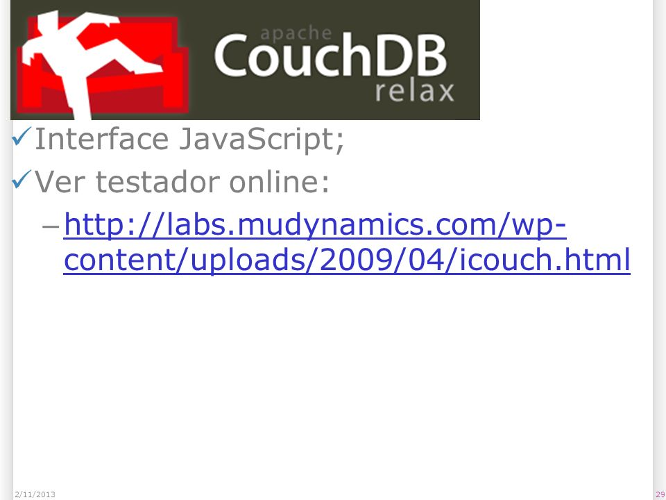 CouchDB Interface JavaScript; Ver testador online: